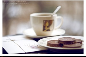 A Cup Of Coffee, Biscuits And Letter